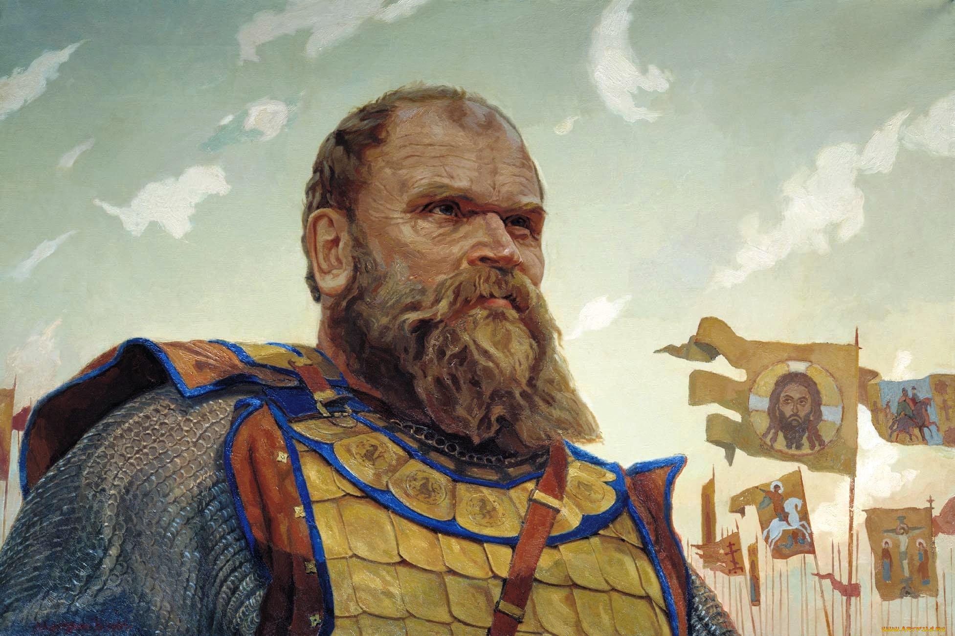 герой куликовской битвы боброк волынский, рисованное, виктор маторин, взгляд, воин, борода, войско, кольчуга, флаги, знамена